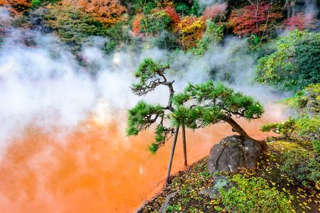 """Beppu, Japón en el """"infierno"""" de sangre caliente primavera."""