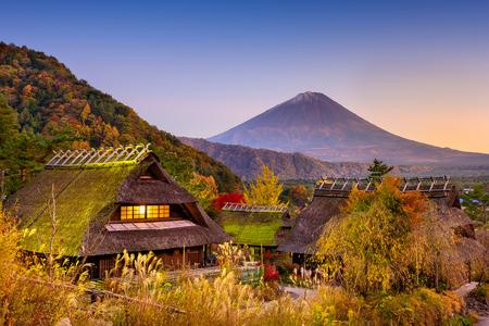 saiko: Mount Fuji, Japan viewed from a historic village. Stock Photo