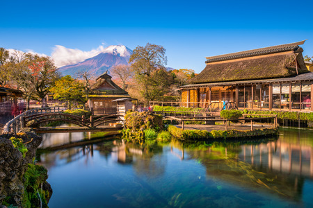 Oshino Hakkai, Japan with Mt. Fuji in the background. Stock Photo
