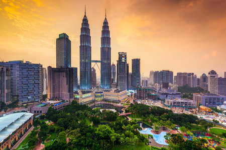 landmark: Kuala Lumpur, Malaysia skyline.