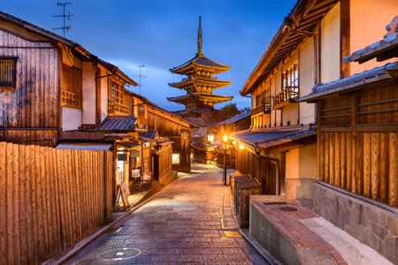 京都八坂の塔、旧市街。