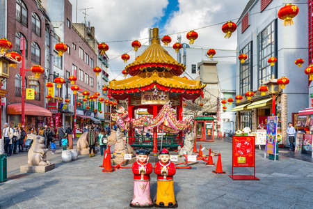 chinese courtyard: KOBE, JAPAN - DECEMBER 17, 2015: Chinatown district of Kobe at the square and pavilion. It is one of three designated Chinatowns in Japan.
