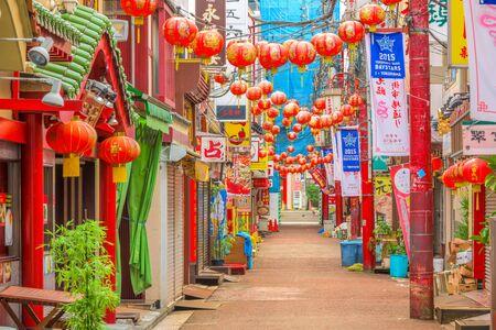 chinatown: YOKOHAMA, JAPAN - AUGUST 11, 2015: Yokohamas Chinatown district. It is the largest Chinatown in Japan. Editorial