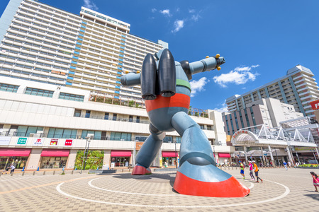 tourist spot: KOBE, JAPAN - AUGUST 22, 2015: The Gigantor robot monument at Shin-nagata Station. The character is from the manga Testsujin 28-go written by the late Mitsuteru Yokoyama who was born in Kobe. Editorial