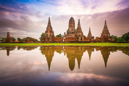 tourist attraction: Ayutthaya, Thailand at Wat Chaiwatthanaram. Stock Photo