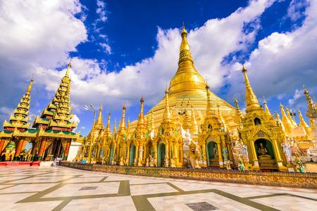 Shwedagon Pagoda in Yangon, Myanmar. 스톡 콘텐츠