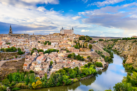 toledo town: Toledo, Spain old town city skyline.