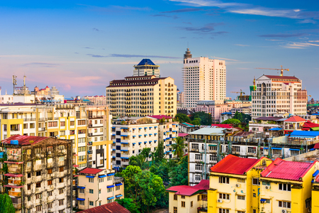 high rises: Yangon, Myanmar downtown skyline. Stock Photo