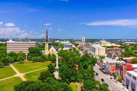 Charleston, South Carolina, USA skyline over Marion Square. Stock Photo