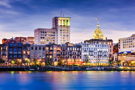 riverfront: Savannah, Georgia, USA downtown riverfront skyline.