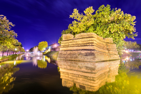 moat wall: Chiang Mai, Thailand old city ancient wall and moat.