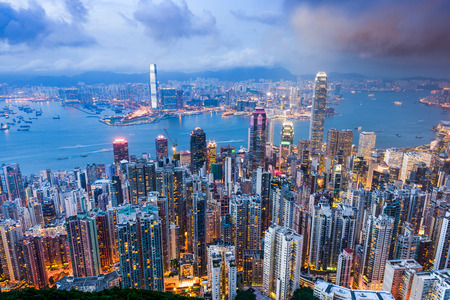 districts: Hong Kong, China city skyline from Victoria Peak. Stock Photo