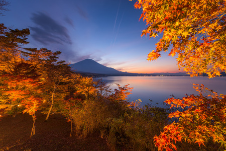 Lake Yamanako, Japan during autumn with Mt. Fuji in the distance.