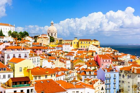 portugal: Lisbon, Portugal town skyline at the Alfama. Stock Photo