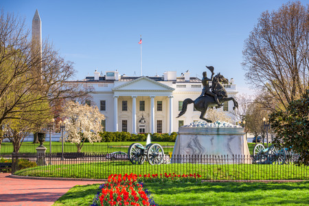 presidents day: Washington, DC at the White House and Lafayette Square. Stock Photo