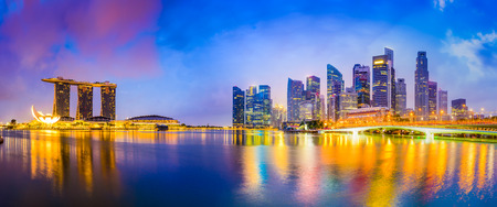 high rises: Singapore skyline at the bay. Editorial