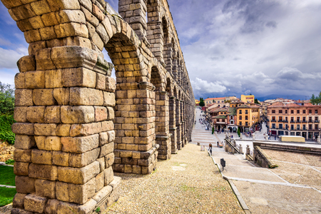 segovia: Segovia, Spain at the ancient Roman aqueduct. Stock Photo