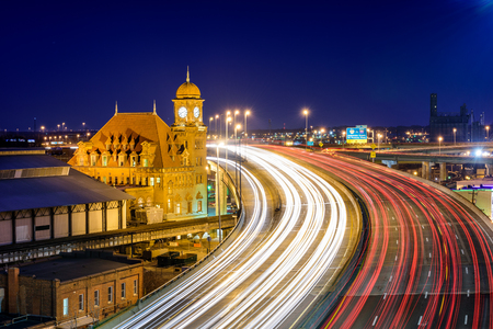 american city: Richmond, Virginia, USA at historic Main Street Station and Interstate 95.