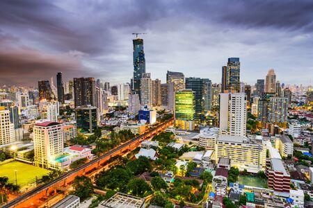 financial district: Bangkok, Thailand Financial district skyline. Stock Photo