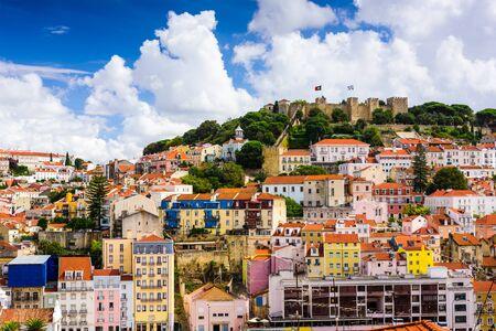 baixa: Lisbon, Portugal skyline at Sao Jorge Castle.