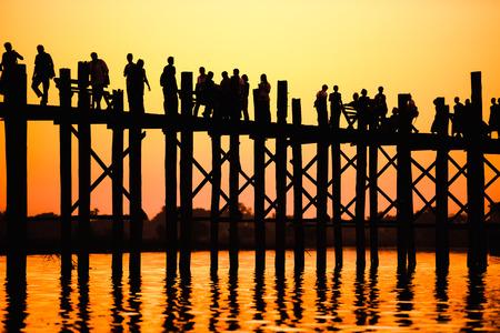bridge in nature: U-Bein Bridge in Mandalay, Myanmar.