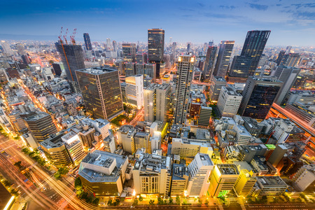kita: Osaka, Japan cityscape aerial view in Umeda District.