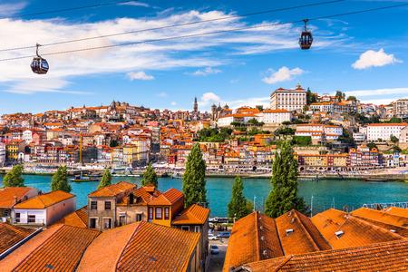Porto, Portugal oude stad aan de rivier de Douro. Stockfoto