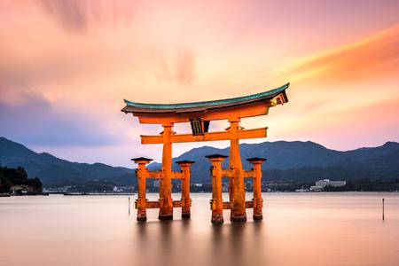 Miyajima, Hiroshima, Japan at the great gate of Itsukushima shrine. (inscription reads Itsukushima Shrine) 報道画像