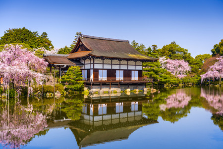 Kyoto, Japan at Heian Shrines pond in the spring season. Editorial
