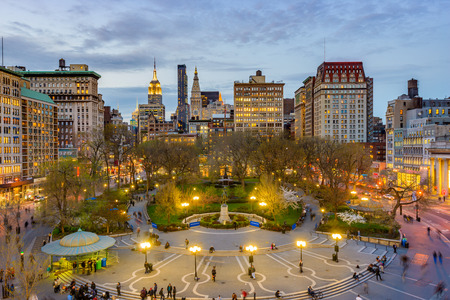 New York City, USA skyline at Union Square à Manhattan. Banque d'images