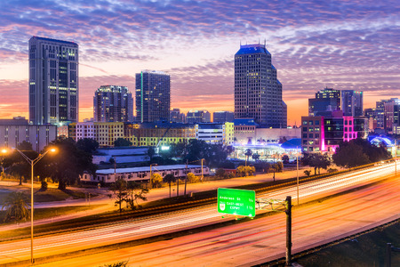 orange county: Orlando, Florida, USA downtown cityscape over the highway. Stock Photo