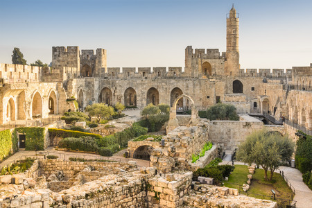 tower: Jerusalem, Israel at the Tower of David. Stock Photo