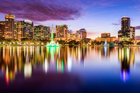 orange county: Orlando, Florida, USA downtown city skyline from Eola Park.