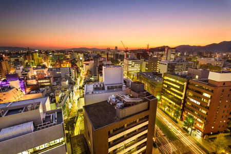Kumamoto, Japan downtown city skyline.