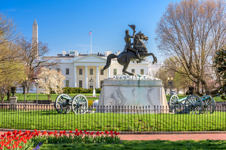 Washington, DC en la Casa Blanca y la plaza Lafayette. Foto de archivo