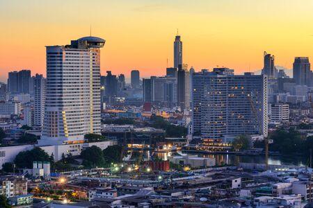 phraya: Bangkok, Thailand skyline on the Chao Phraya River.
