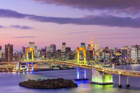 tokyo prefecture: Tokyo, Japan skyline with Rainbow Bridge and Tokyo Tower.