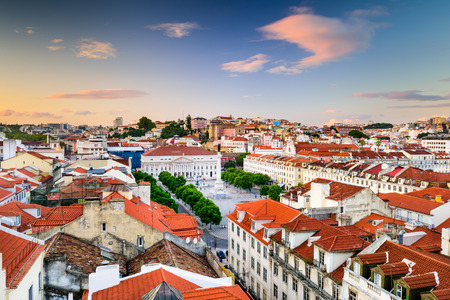 Preview Save to a lightbox  Find Similar Images  Share Stock Photo: Lisbon, Portugal skyline view over Rossio Square. Stock Photo