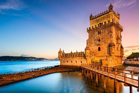 tower: Lisbon, Portugal at Belem Tower on the Tagus River.