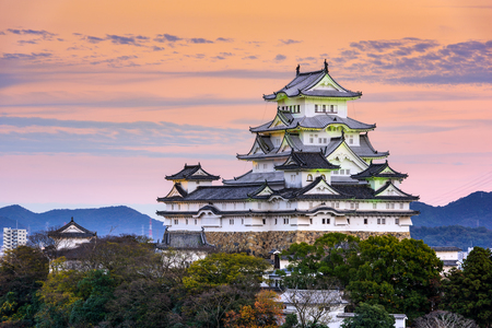 japan sunset: Himeji, Japan at the castle. Editorial