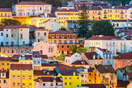 Lisbon, Portugal buildings at dusk.