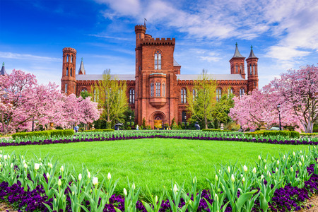 educational institution: Washington DC - April 12, 2015: The Smithsonian Institution Building in the spring season.