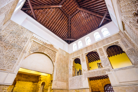 sephardic: CORDOBA, SPAIN - OCTOBER 9, 2014: The Cordoba Synagogue interior. The synagogue dates from 1315 and was declared a National Monument in 1885.