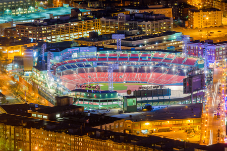 majors: BOSTON, MASSACHUSETTS - APRIL 3, 2012: Fenway Park at night. Opened in 1912, the home of the Red Sox is the oldest MLB stadium still in use.
