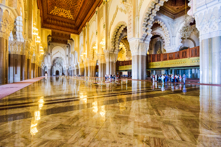CASABLANCA, MOROCCO, OCTOBER 24, 2014: Interior of Hassan II Mosque. It is the largest mosque in Morocco.