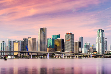 miami sunset: Miami, Florida, USA skyline.