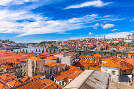 portugal: Porto, Portugal old town skyline. Stock Photo