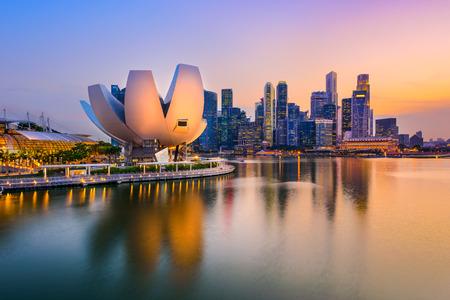 Singapore skyline at the Marina during twilight. 에디토리얼