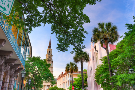 districts: Charleston, South Carolina, USA view of the French Quarter.
