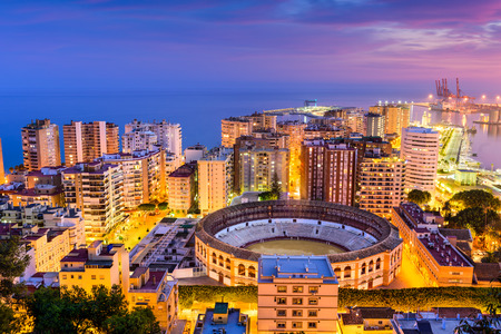 Malaga, Spain skyline towards the Mediterranean Sea.